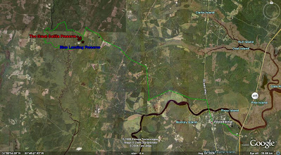 Photo: Driving map from Jacksonville Florida or points South. Exit 14 at I-95 (Woodbine,Georgia). Go East to Hwy 17. When you pass over the Satilla River bridge - take your first paved lleft onto Refuge Road. Go five miles to the end of Refuge Road and turn right onto GA 252 (Burnt Ft Road). In 2.5 miles - bear left onto New Post Road. Go six tenths of a mile on New Post Road and turn left onto GA - 259 In 5.5 miles turn left onto Old Merrow Community Road. The entrance to The Great Satilla Preserve is 1.8 miles on your right.