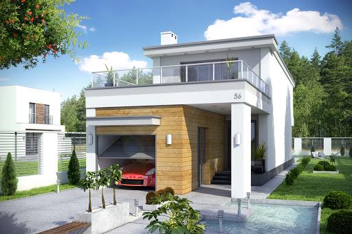projekt Long z garażem 1-st. A