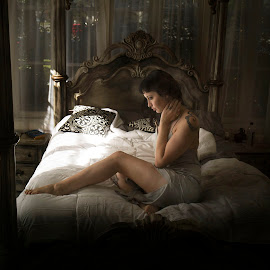 untitle 46 by Jim Oakes - People Portraits of Women ( bed, pretty, window light, unique, female )