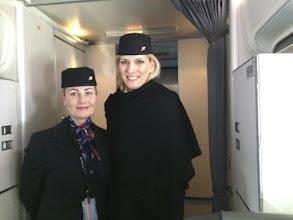 Photo: Flight attendants on eclipse flight
