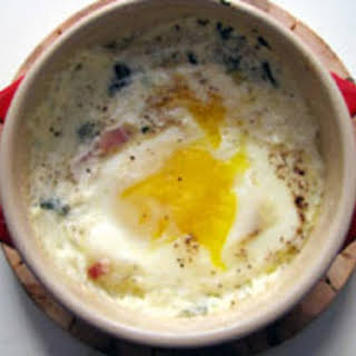 Eggs with Cream, Spinach, and Country Ham.