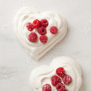 Pavlova Hearts with Chantilly Cream.