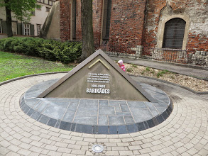 Photo: Monument to the barricades - to the people who defended parliment against the Soviets in 1991.  History is real for Latvians