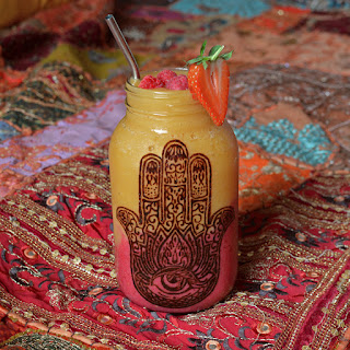 Mango Peach, and Raspberry Cherry Hamsa Smoothie Recipe