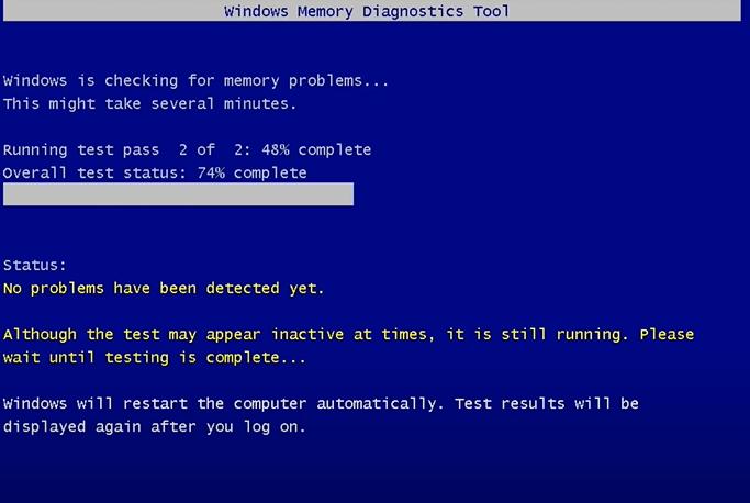 the Windows Memory Diagnostic tool