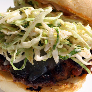 Chorizo Burgers with Manchego and Paprika Slaw.