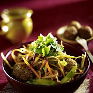 "Spelt ""Meat"" Balls with Carrot Salad"