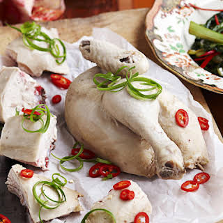 Poached Chicken with Dipping Sauce.