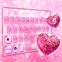 Pink Glitter Heart Keyboard Theme icon