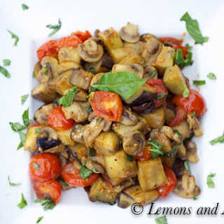 Stir-Fried Eggplant, Mushrooms and Tomatoes