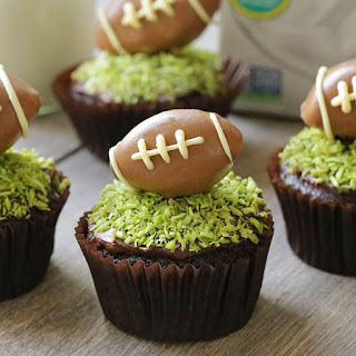 Chocolate Football Cupcakes (vegan, dairy-free, 100% whole grain)