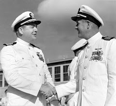 Photo: Capt. G.H. Duffy relieves Captain T.D. Harris as Commanding Officer of NAAS CHase Field on July 15, 1958