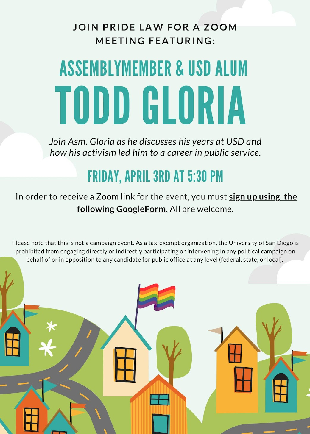 Pride Law: Assemblymember & USD Alum Todd Gloria Zoom Meeting, April 3 at 5:30pm, link to sign up