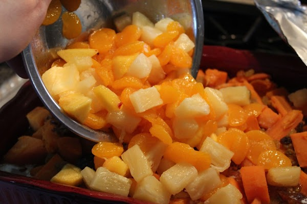 PINEAPPLE, MANDARIN ORANGES & APRICOTS: Uncover the casserole dish.  Place in a mixing...