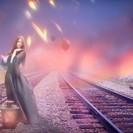 On My Own by Ilkgul Caylak - Digital Art People ( flare, woman, color, phenomenon, pure, aurora, beautiful, fairtale, manipulated, lights, fantasy, dreamscape, imagine, nature, edited, cool, dramatic, girl, ilkgulcaylak, nice, awesome, dream, vintage, fantastic, spiritual, fresh, landscape )