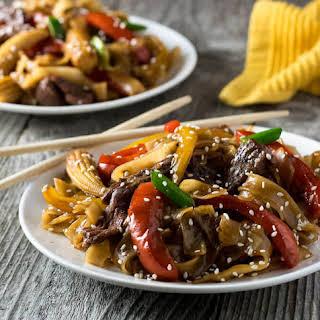 Korean BBQ Beef Stir Fry with Noodles.