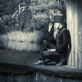 Magic by Marko Paakkanen - Digital Art People ( magic, woman, night, hat, water )
