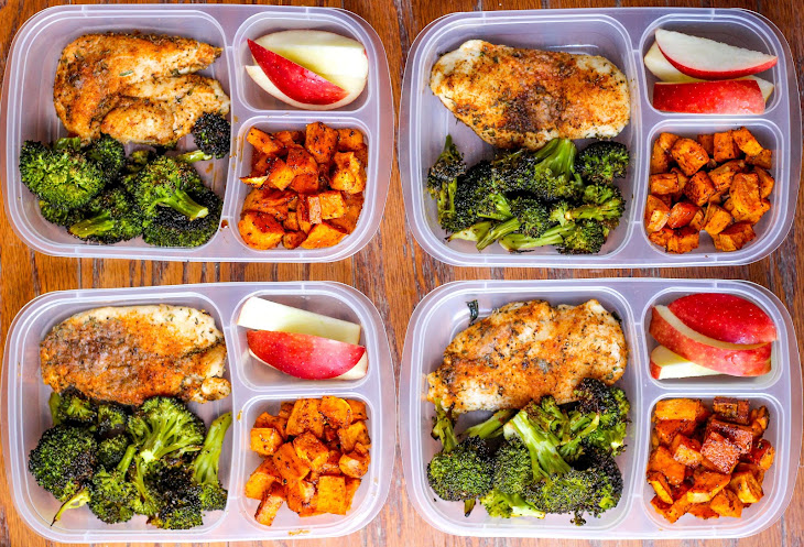 Meal Prep Lunch Bowls with Spicy Chicken, Roasted Lemon Broccoli, and Caramelized Sweet Potatoes Recipe