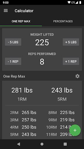 1 Rep Max Calculator and Log screenshot 1
