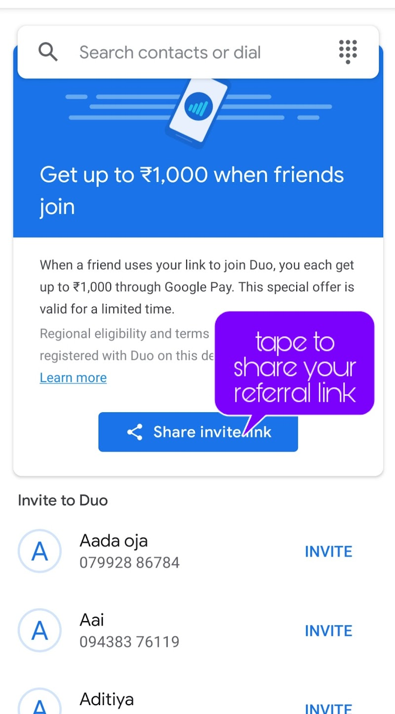 FreeGoole Duo 1000 rupees by inviting to join Duo