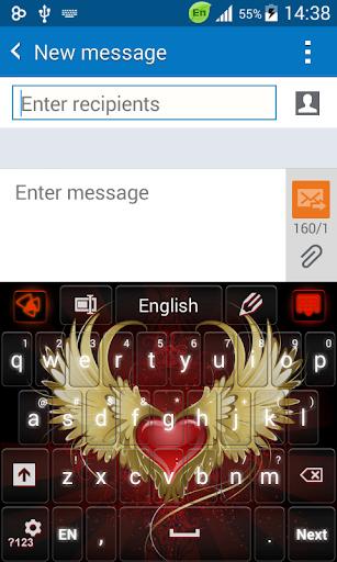 赤いハート炎のキーボード