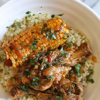 Pressure Cooker Stewed Chicken with Corn (Pollo Guisado con Maiz).