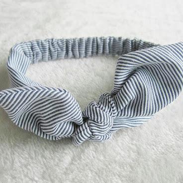 歐美款式小公主蝴蝶結頭飾髮帶(藍間條)H453現貨包郵