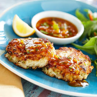 Crab Cakes with Sweet Chili Sauce.