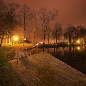 Brühlteich 3 by Franz  Adolf - City,  Street & Park  Night ( night, lake, pond )