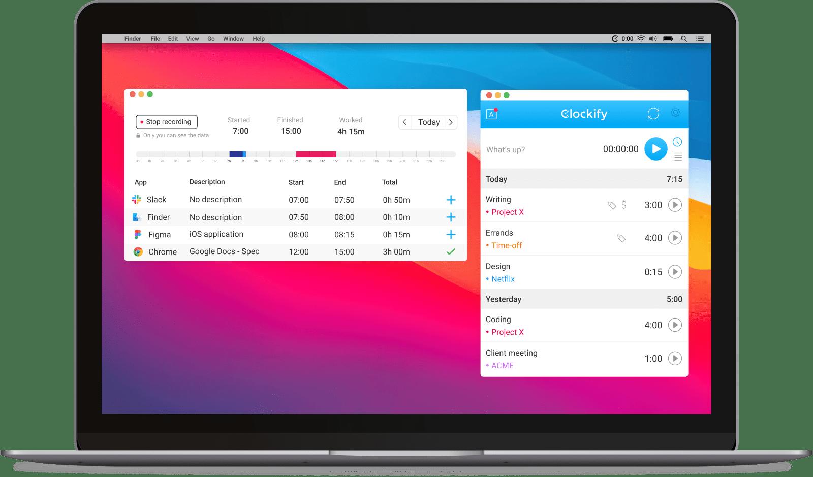 Clockify time tracking app screenshot