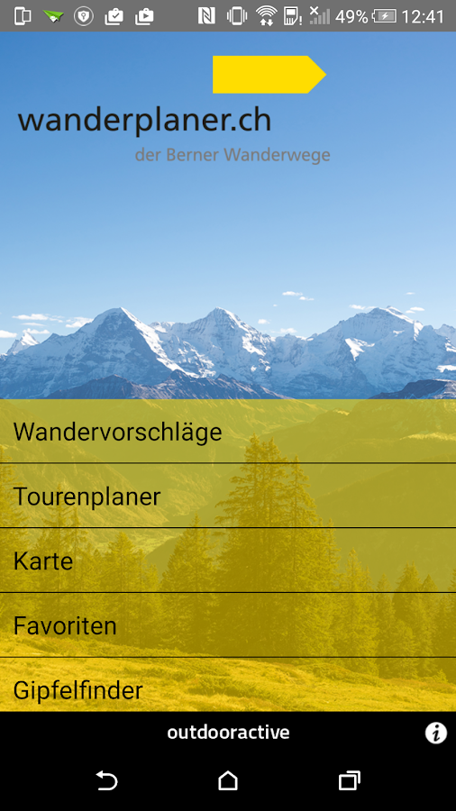 Wanderplaner BernerWanderwege- screenshot