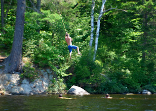 Photo: Rope swing at Ricker Pond State Park by Linda Carlsen-Sperry.