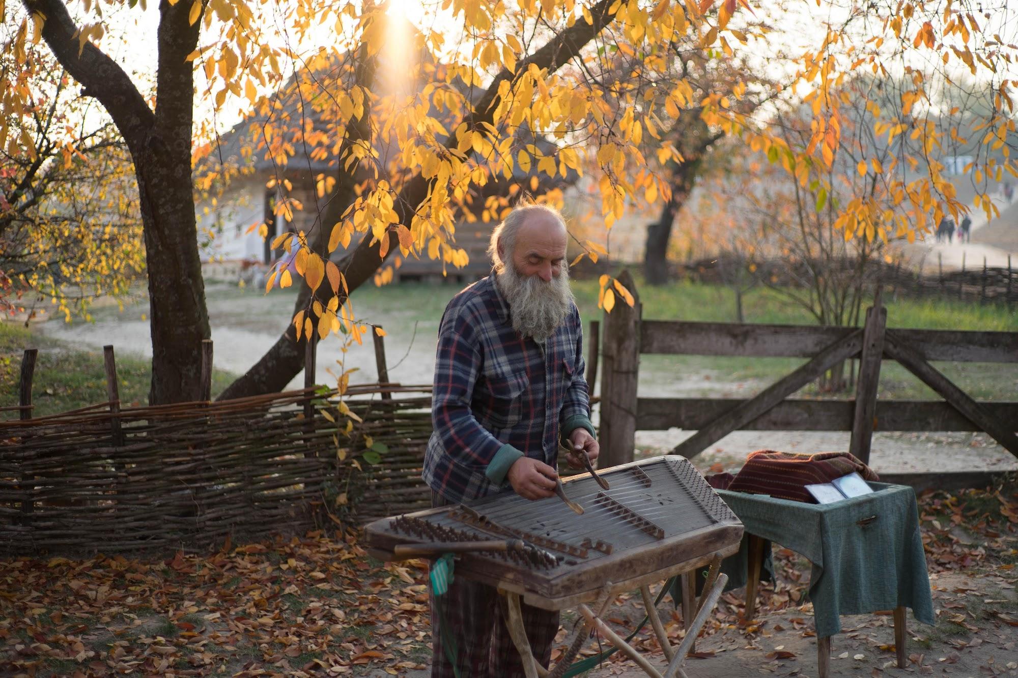 Музикант грає на цимбалах в Пирогово