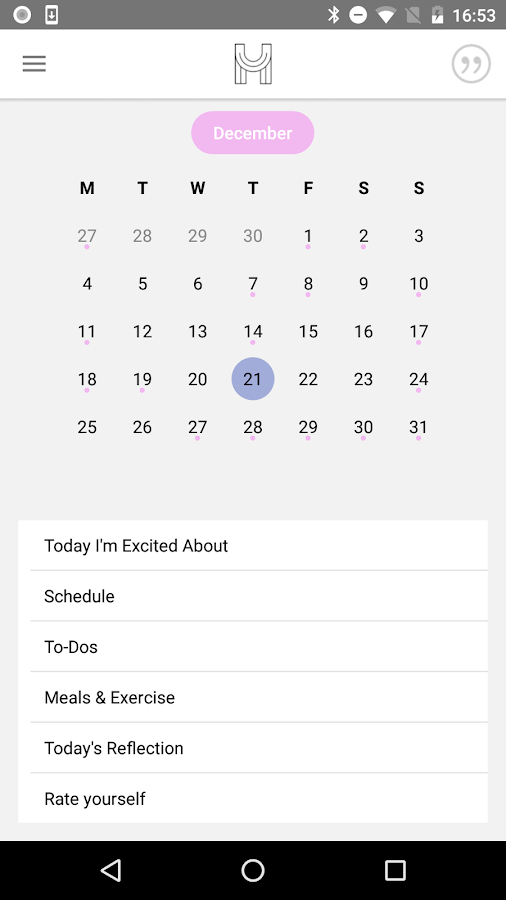 The Happiness Planner- screenshot