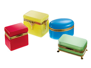 Photo: LYNN G. FELD ANTIQUES Exclusively ours. Collection of vintage Murano glass and opaline boxes, available in many sizes and colors. Shown are red Murano glass box, 4″ high x 4″ wide x 3″ deep. $2,295. Yellow Murano glass box, 5″ high x 5″ wide x 4″ deep. $2,400. Turquoise opaline box, 4″ high x 6″ wide x 4″ deep. $2,400. Green opaline box, 3″ high x 5″ wide x 3″ deep. $1,995. France and Italy. Seventh Floor. 212 872 2686