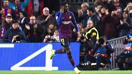 Celebración del gol del Barcelona.