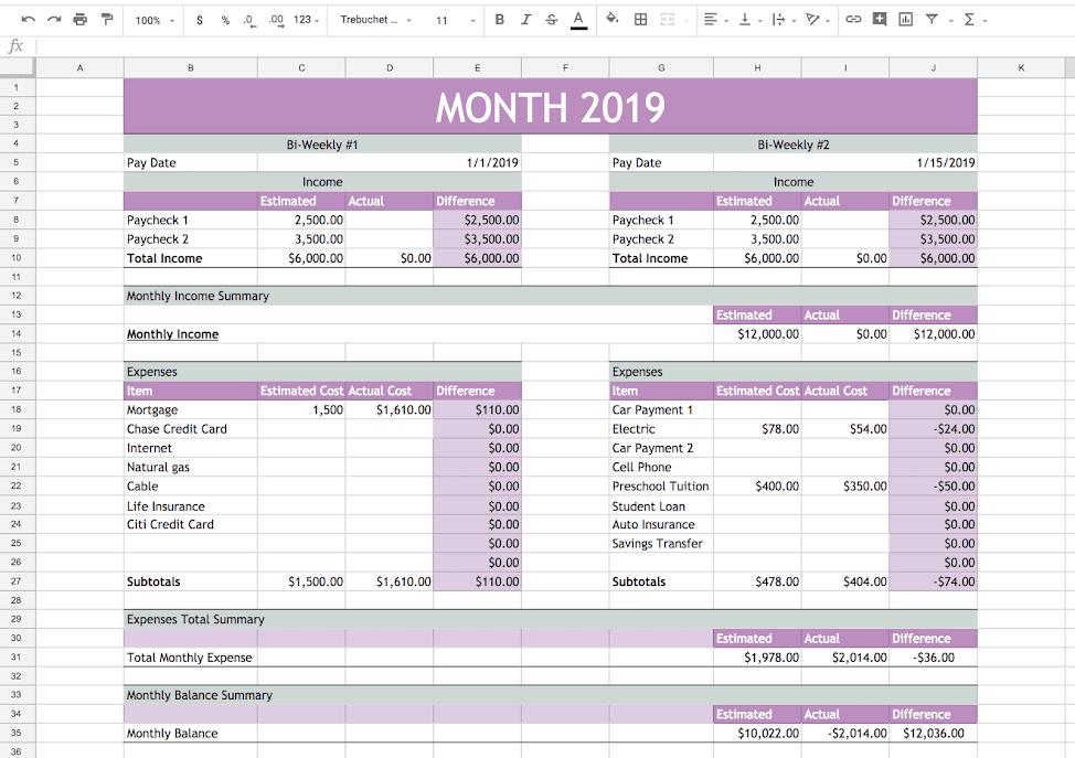 Free Printable Budget Planner Thank You