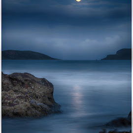 Moonlight reflections by Chris Duffy - Landscapes Waterscapes ( coast, moon, seascape, coastline, moonlight, reflection, seashore, sea, scotland )