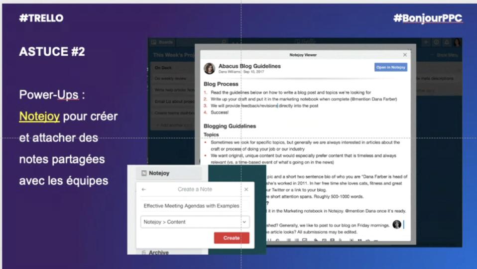 Astuce n°2 :  Power-Up Notejoy, pour créer et attacher des notes partagées avec tes équipes