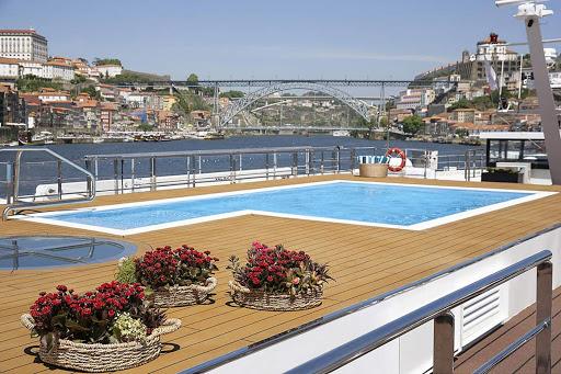 Take a dip in the pool on the main deck of S.S. Sao Gabriel as you sail through the Douro River Valley.