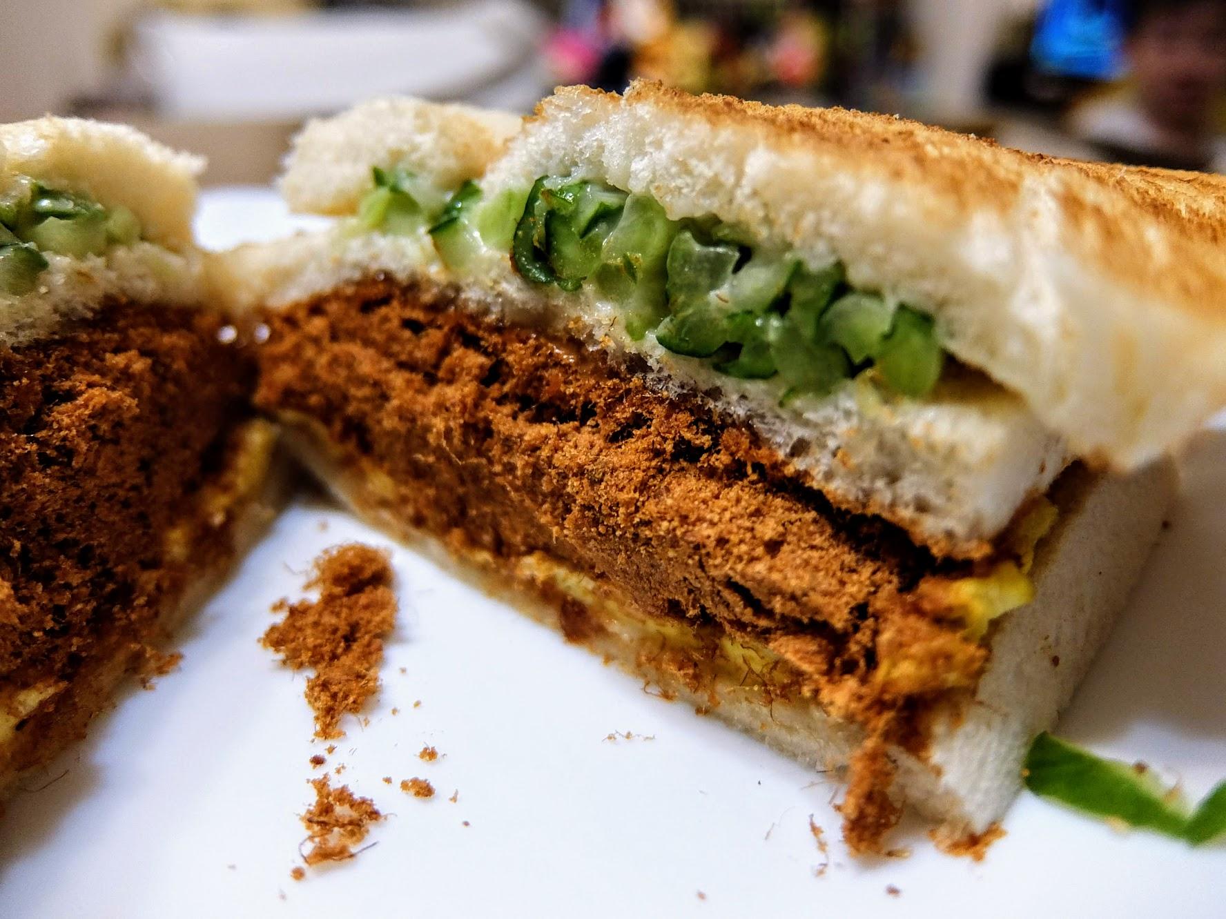 肉鬆三明治,肉鬆給得很多啊!