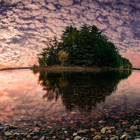 Reflecting by Matthew Robertson - Landscapes Waterscapes ( water, clouds, reflection, sky, sunset, summer, trees, pebbles, lake, island )