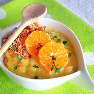 Arborio Rice Pudding with Mandarin Coins, Amaretto Cookie Crumbs and Thyme - pressure cooker