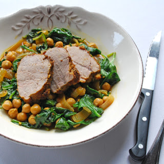 Tandoori-spiced Pork Tenderloin with Chickpeas and Spinach
