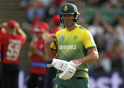 AB de Villiers walks off after being dismissed during the second Twenty20 game between SA and England, in Taunton on June 23 2017. Picture: Action Images via Reuters