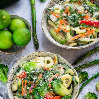 Cauliflower Alfredo Zoodles with Asparagus & Spring Vegetables