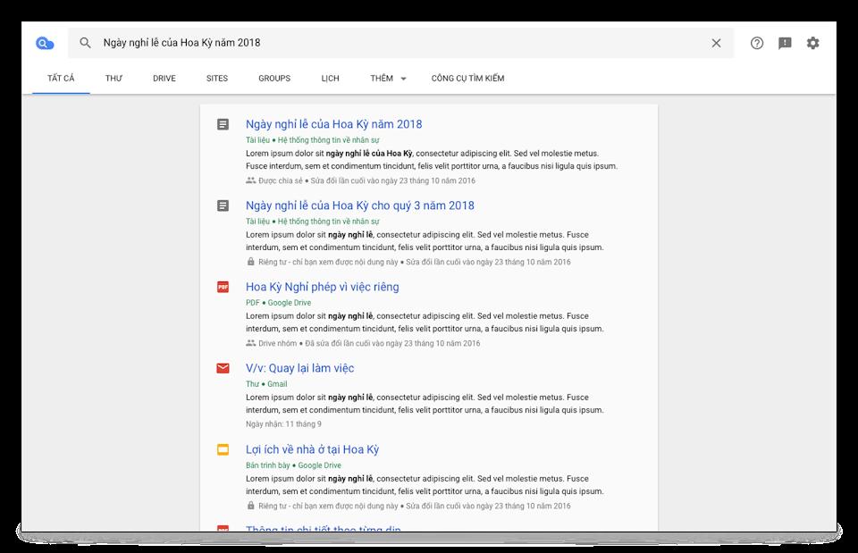 Chế độ xem trình duyệt Cloud Search