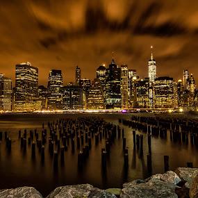 The Sticks at Night by Carol Ward - City,  Street & Park  Skylines ( #nighttime sticks skyline, #beautiful sky manhattan, #sticks nyc, #i love new york, #skyline at night,  )