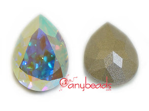 Photo: Swarovski Crystal Elements 4320 Pear Fancy Stones with setting 18x13mm - Crystal AB http://www.anybeads.com/crystal-swarovski-crystal-4320-pear-stones-18x13mm-1pcs-p-2704.html