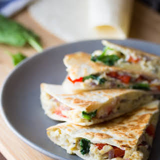 Spinach, Feta & Red Pepper Breakfast Quesadillas (Make Ahead).
